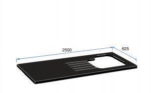2500mm x 625mm x 30mm 1.5 Avignon Stainless steel Undermounted Sink